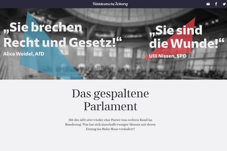 Screenshot Website Das gespaltene Parlament